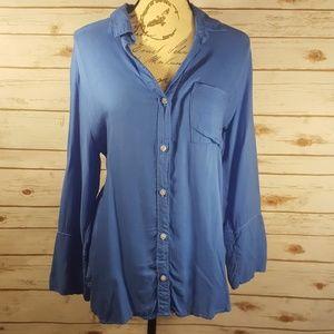 Anthropologie Cloth & Stone button down ocean blue